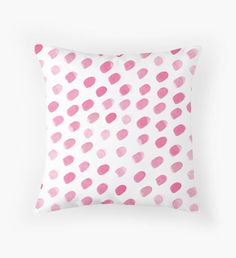New work in my RedBubble shop!! : : : pink watercolour ovals Throw Pillow