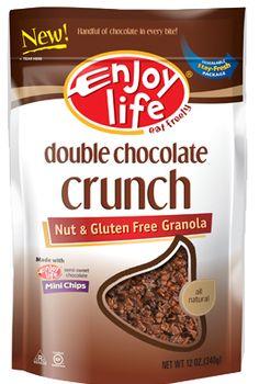 Enjoy Life Foods - Granolas - Double Chocolate Crunch 12 oz. Uses Enjoy Life Semi-Sweet Mega Chunks; Brown Rice Flakes. Gluten Free; Wheat Free; Dairy Free; Peanut Free; Tree Nut Free; Egg Free; Soy Free; Fish Free; Shellfish Free; Non-GMO Verified. Made in USA.  http://www.vitacost.com/enjoy-life-granola-gluten-free-double-chocolate-crunch