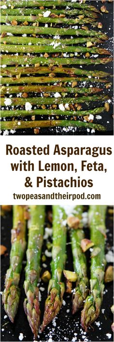 Roasted Asparagus with Lemon, Feta, and Pistachios Recipe on twopeasandtheirpod.com This easy vegetable side dish is perfect for spring and Easter.