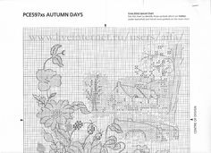 autumn  4 Cross Stitch Landscape, Blackwork, Symbols, Design, Stitch Patterns, Needlework, Landscapes, Autumn, Seasons