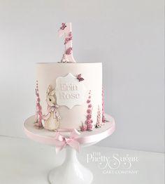 Flopsy Bunny pink first birthday cake