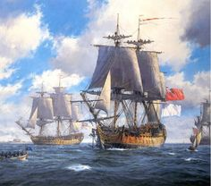HMS Bellona and HMS Courageux arriving at Spithead by Geoff Hunt. Courageux was a heavy 74-gun ship of the line of the French Navy, launched in 1753. She was captured by the Royal Navy in 1761 and taken into service as HMS Courageux. HMS Bellona was a 74-gun Bellona-class third-rate ship of the line of the Royal Navy. Designed by Sir Thomas Slade, she was a prototype for the iconic 74-gun ships of the latter part of the 18th century.
