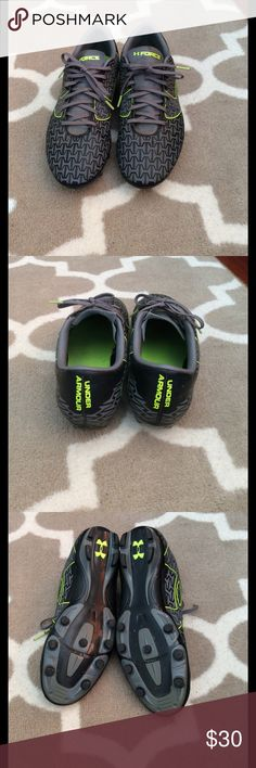 Men's UA outdoor soccer cleats Men's UA outdoor soccer ⚽️ cleats in great condition!!!!  Color is gray black and bright green. Size 10.5. Under Armour Shoes Athletic Shoes