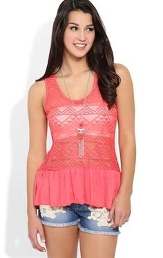 Deb Shops #crochet lace front tunic tank with rayon span ruffle bottom and daisy necklace $19.50