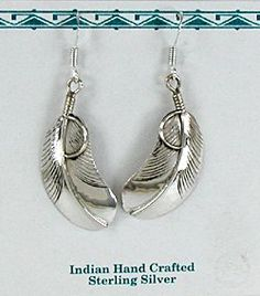 Native American Navajo sterling silver Feather earrings