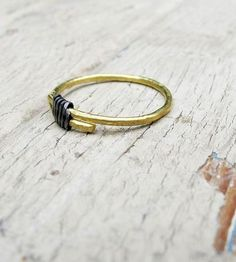 Steel-Wrapped Brass Ring Trio by Tangleweeds on Scoutmob Shoppe