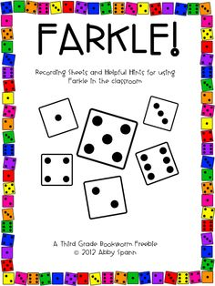 Friday Farkle Freebie. Place value and addition dice game.