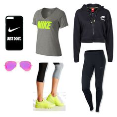 """#gym#clothing#fazhion"" by maraea-puha on Polyvore featuring NIKE, Asics and Ray-Ban"