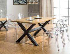 Table de salle à manger bois et métal industrielle DEREK
