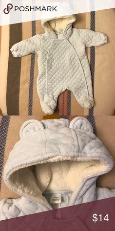 Nordstrom Baby Bear Cozy Bodysuit 🐻 Baby blue. Newborn size. Fleece lined hood. Like new & so very darling Nordstrom Baby One Pieces Bodysuits