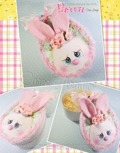 Aula Virtual - Caixinha Ovo Chocolates, Foam Sheets, Rose Art, Air Dry Clay, Alice, Easter, Gifts, Babies, Easter Crafts