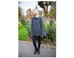Just Perfect: Paris - perfect every day fall outfit. Copy the look with knit from Aubin & Wills, a pair of skinny fit jeans with zipper detail, padded biker boots that looks like something from Chanel, and a pretty bag. #offduty via Carolines Mode