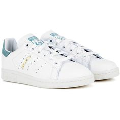 Adidas Originals Stan Smith Leather Sneakers (230 BRL) ❤ liked on Polyvore featuring shoes, sneakers, adidas, white, white trainers, adidas shoes, adidas trainers, adidas footwear and white shoes