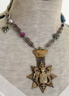 honour society vintage assemblage necklace by TheFrenchCircus