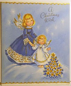 Angel Girls in The Stars Vintage Christmas Card