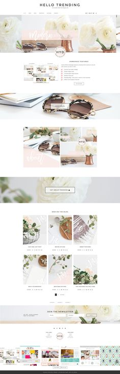 Designed with the female entrepreur in mind. Beautiful, clean design. Hello Trending Wordpress Genesis  by Hello You Designs on @creativemarket