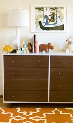 nurseries - West Elm Iznik Dhurrie Rug - Sorrel Jonathan Adler Giraffe Lamp wood hippo modern two-tone dresser Fun boy's nursery design with Baby Decor, Kids Decor, Home Decor, Home Design, Nursery Dresser, Nursery Inspiration, Nursery Ideas, Dresser Inspiration, Project Nursery