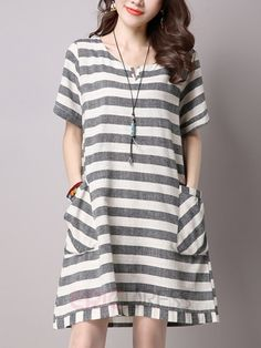 Ericdress Loose Stripe Casual Dress Casual Dresses