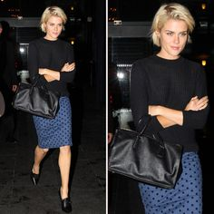 Rachel Taylor Style, the combination of blue and black really inspires me.