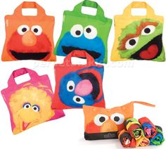 Sesame Street reusable bag collection // If we all used these it would make Super Grover very happy.