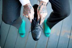 Cool groom shoe shot.