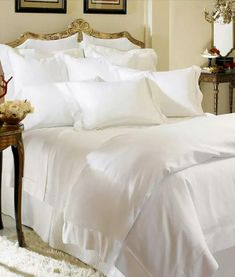 SFERRA Giza 45 percale bed linens is the finest, lightest, and most breathable fabric that you will ever find. SFERRA Giza 45 percale sheeting is pristine, finished with SFERRA's classic hemstitch. Giza bed linens made in Italy. World's Finest Sheets. Luxury Home Decor, Luxury Homes, Luxury Life, Grande Hotel, Soft Bed Sheets, White Sheets, Hotel Collection Bedding, Hotel Bed, Pillow Top Mattress