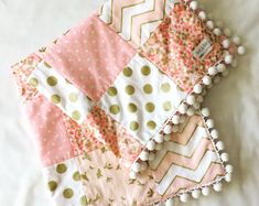 Im made this from 100% cotton. Like always Cozy and Soft. Great size to go inside the crib and toddler bed. i didnt wash this Blanket. You may wash on the delicate cycle - cold water. Air dry or machine dry, lowest heat setting for 15 min. If you choose to machine dry, you will have some shrinking. This quilt would make an excellent gift. Made in a clean, smoke free environment. Thanks for stopping Quilt Baby, Quilted Baby Blanket, Easy Baby Blanket, Baby Girl Bedding, Baby Girl Quilts, Minky Baby Blanket, Girls Quilts, Baby Girl Blankets, Baby Blanket Crochet