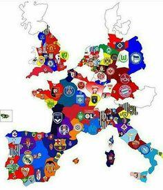 Equipos de fútbol distribuidos en Europa