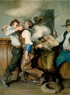 An illustrator born in N. Wyeth is known for painting some extremely melodramatic spectacles. His 1916 painting Gunfight shows the viewer a particularly action-packed and violent scene. – Courtesy Denver Art Museum in Denver, Colorado – Arte Assassins Creed, Nc Wyeth, Illustrator, Art Occidental, Frederic Remington, West Art, Cowboy Art, Art Et Illustration, Le Far West