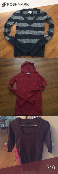3 Size Small Sweaters Two American Eagle sweaters- one blue/gray and one red. One Wet Seal Sweater- brown. All size small and great condition! No pulls or holes. Only worn a few times 😊 American Eagle Outfitters Sweaters V-Necks