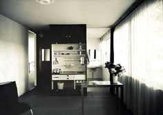 Lilly Reich (German, 1885-1947). Boarding House at Die Wohnung unserer Zeit (The Dwelling of Our Time), Apartment for a Single Person, view of the living room and kitchenette. 1931. Ludwig Mies Van Der Rohe, Kitchenette, Architecture Design, Bauhaus Furniture, Single Apartment, Architectural Association, Boarding House, Walter Gropius, Counter Space
