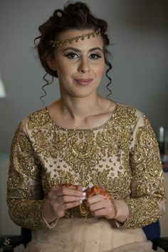 Asian wedding photography and cinematography www.khushstudio.co.uk Beautiful Marine getting ready on her engagement day. Booking info 07400777342