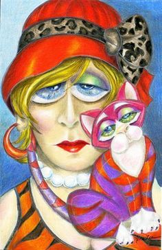 Miss Adelle and Misty - by Alma Lee from Portrait of Womanhood