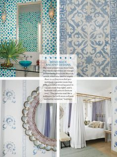 Beautiful floor-to-ceiling stencils are the perfect backdrop: a moroccan beach house Moroccan Table, Moroccan Bedroom, Antique Bedside Tables, Wallpaper Stencil, Color Me Beautiful, Secret Rooms, Blue Rooms, Nature Decor, Large Homes