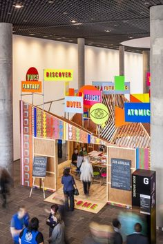 Lobby pavilion keeps Birmingham library at the forefront of debate. - Lobby pavilion keeps Birmingham library at the forefront of debate… Morag Myerscough & Luke Morgan — The Pavilion, Library of Birmingham Exhibition Display, Exhibition Space, Interactive Exhibition, Exhibition Ideas, Exhibition Booth Design, Stand Design, Display Design, Design Shop, Birmingham Library