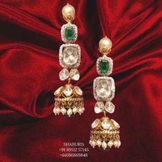 Diamond Jhumkas, Diamond Jewelry, Silver Jewelry, Jewelry Design Earrings, Gold Earrings Designs, Indian Gold Jewellery Design, Indian Jewelry, Indian Earrings Gold, Antique Earrings