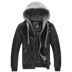 Leather coat Thicken PU Faux two piece Detachable hoodies Black Casual brand.Men's.Free shipping  2013Style