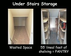 I had wasted space in that weird under stairs closet. So we made it a pantry in 2 days! Able to hold three Quart mason jars deep and two pints high or one half gallon mason jar = lots of storage! Under Stairs Pantry, Space Under Stairs, Hall Closet Organization, Closet Storage, Understairs Closet, Basement Storage, Stair Storage, Basement Ideas, Basement Bathroom