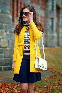 Mustard Yellow Ribbon Pea Coat