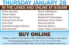 Join us in the lanes and online this Thursday, January 28. Tarbox Toyota and Tarbox Hyundai will be kicking-off the auction at 9:45AM with 50+ vehicles!