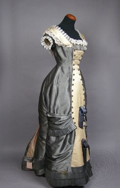Dress, c 1870-1880. Czech. Silk and cotton. Museum of Decorative Arts, Prague. | Natural Form Era