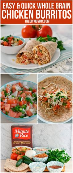 ... Easy Whole Grain Chicken Burritos (Thanks to Minute Rice!) #weekdaywin