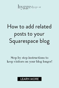 Wondering how to add related posts to your Squarespace blog? Once someone lands on your website, it's your chance to serve them and convince them to stay on your site longer. If you add related posts on your site, you'll be able to encourage them to keep reading posts that they might find interesting. Build relationships online by adding related posts on your Squarespace blog. Click to learn more today! #squarespace #webdesign #blogging #squarespaceblog #hyggedesignco Small Business Marketing, Online Business, Business Tips, Ecommerce, Reading Post, Related Post, Custom Website Design, Web Design Services, Blog Tips