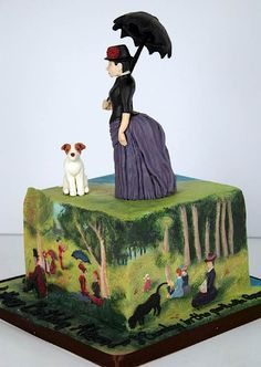 """A cake that is an homage to George Seurat's """"Sunday Afternoon in the Park""""-the cake was 7 ft.high! As the author of the article states, the """"only  thing missing was the monkey on a leash,& the girl fishing who may or may not have been a reference to prostitution-yay, art, keeping it classy!""""* *C cakewreck"""