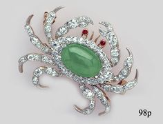 Edwardian Brooch - Jade, Ruby, Diamond, Gold and Platinum Crab Brooch by Shreve & Co., San Francisco at Nelson Rarities, Inc