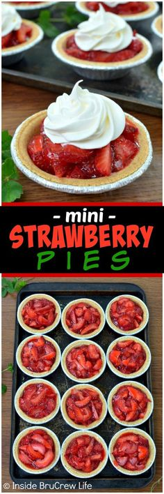Mini Strawberry Pies - little graham cracker crusts filled with fresh strawberries and strawberry Jello makes a great little dessert for any occasion. Make this easy recipe for spring and summer parties or picnics! Mini Desserts, Summer Dessert Recipes, Strawberry Desserts, Easy Desserts, Strawberry Jello, Strawberry Glaze, Easy Strawberry Pie, Fresh Strawberry Recipes, Healthy Desserts
