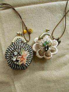 Vintage Style Pouch Crochet Necklace Embedded With Crystal Silk Ribbon Embroidery Pattern. $35.00, via Etsy.