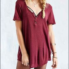 Henley Tunic Top The new essential. Soft knit long and loose Urban Outfitters Tops