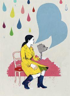 Carmen Segovia, vintage, woman, illustration, rain
