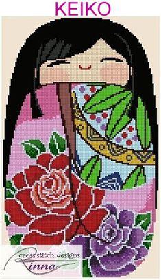 Kokeshi Chibi Doll 1 KEIKO Cross Stitch Pdf by CrossStitchRinna